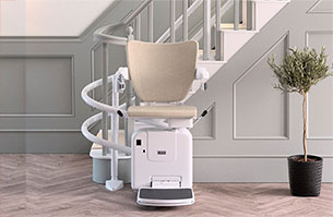 Twin track curved stairlift with Freedom Stairlifts